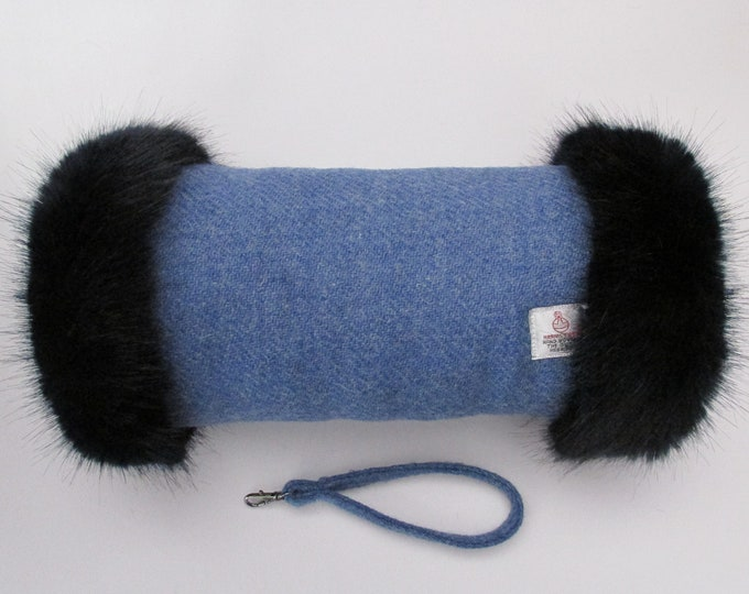 Harris Tweed 100% Wool Denim Blue Hand Muff with Navy Faux Fur Trim