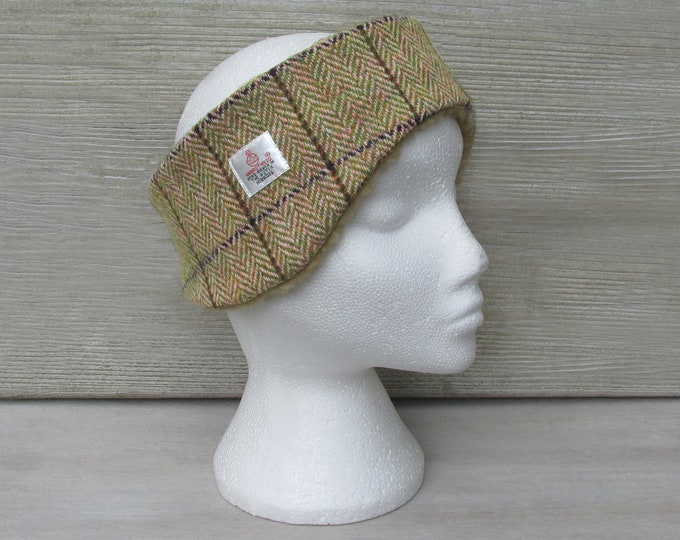 Harris Tweed Apple Green & Pink Herringbone Luxury Ear Warmer Headband