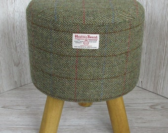 Harris Tweed Green & Fawn Herringbone Hand Covered Footstool