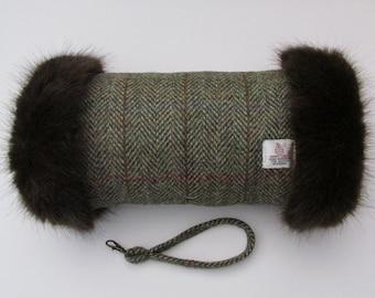 Harris Tweed Green & Fawn Herringbone Hand Muff with Chocolate Brown Faux Fur Trim