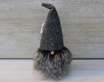 Harris Tweed Grey Herringbone Scandinavinan Tomte with Black & Mink Bushy Beard
