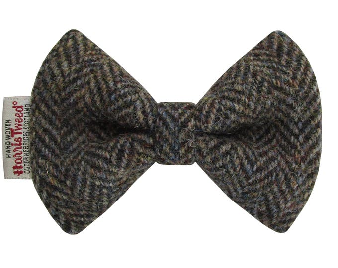 Harris Tweed Woodland Herringbone Designer Dog Bow Tie