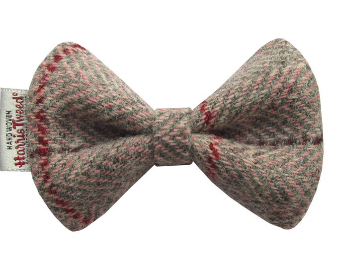 Harris Tweed Pink & Grey Herringbone Designer Dog Bow Tie
