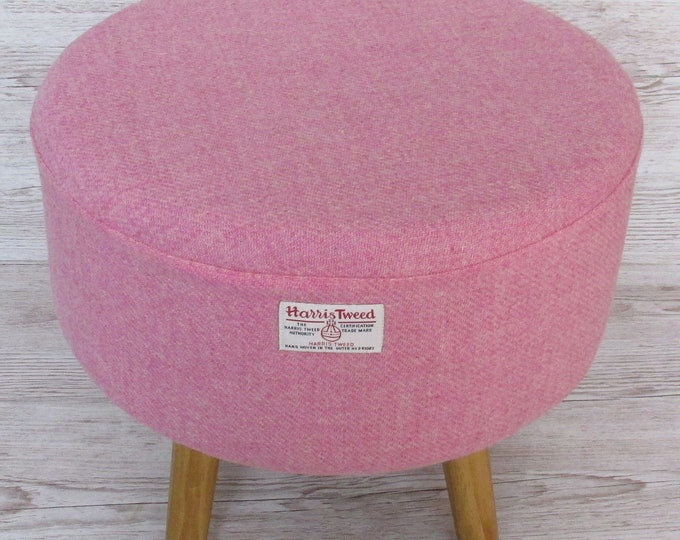 Harris Tweed Pink Blush Hand Covered Footstool