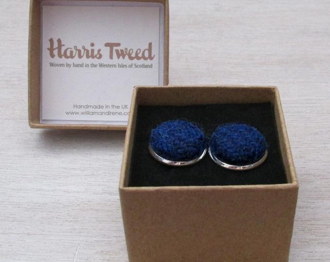 Harris Tweed Windsor Blue Handmade Boxed Cufflinks