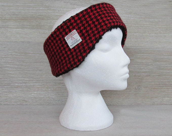 Harris Tweed Red & Black Houndstooth Luxury Ear Warmer Headband