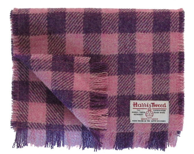Harris Tweed Pink & Purple Check Luxury Pure Wool Neck Scarf