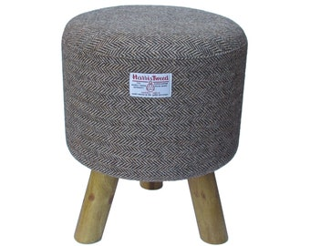 Harris Tweed Brown & Golden Beige Herringbone Hand Covered Footstool