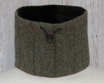 Harris Tweed Green & Fawn Herringbone Luxury Pure Wool Neck Warmer