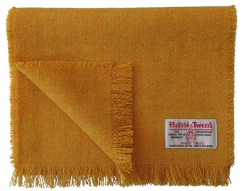 Harris Tweed Mustard Pure Wool Neck Scarf