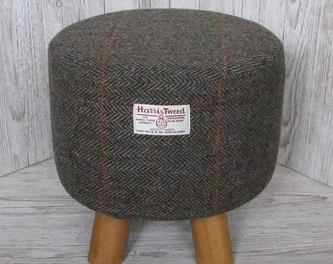 Harris Tweed Woodland Herringbone with Burnt Orange Overcheck Hand Covered Footstool
