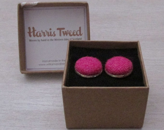 Harris Tweed Fuchsia Pink Handmade Boxed Cufflinks