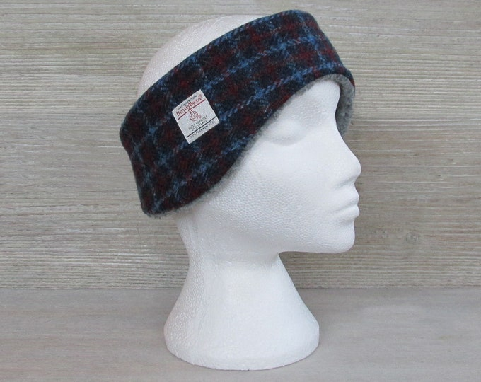 Harris Tweed Blue & Red Check Luxury Ear Warmer Headband