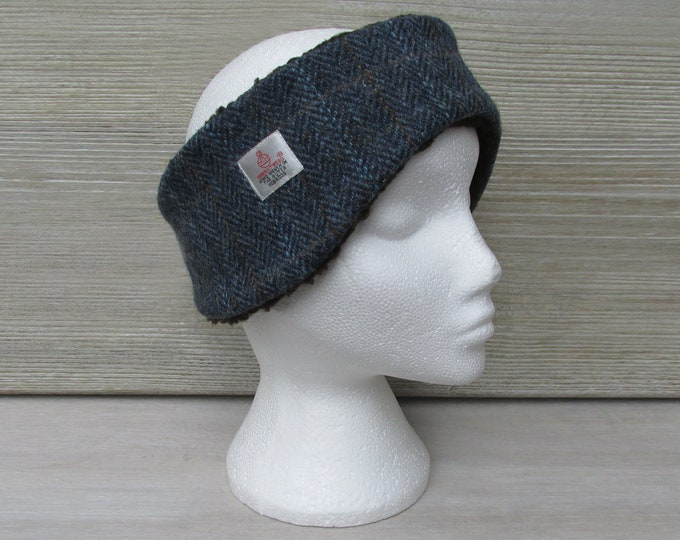 Harris Tweed Navy Check Luxury Ear Warmer Headband