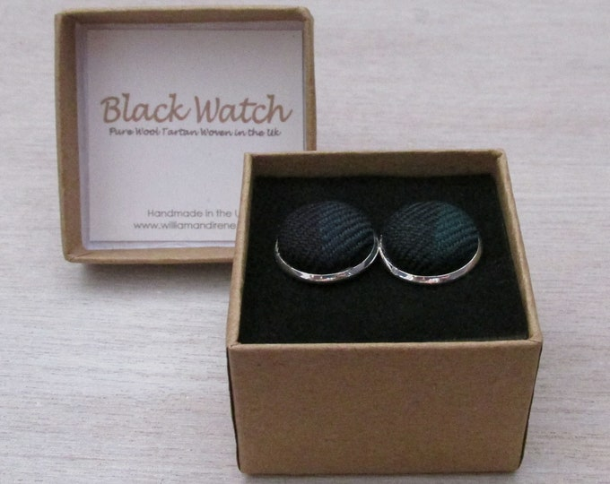 Black Watch Pure Wool Tartan Handmade Boxed Cufflinks