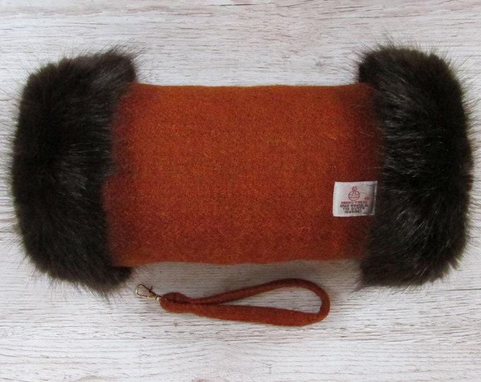 Harris Tweed Burnt Orange Hand Muff with Chocolate Brown Faux Fur Trim