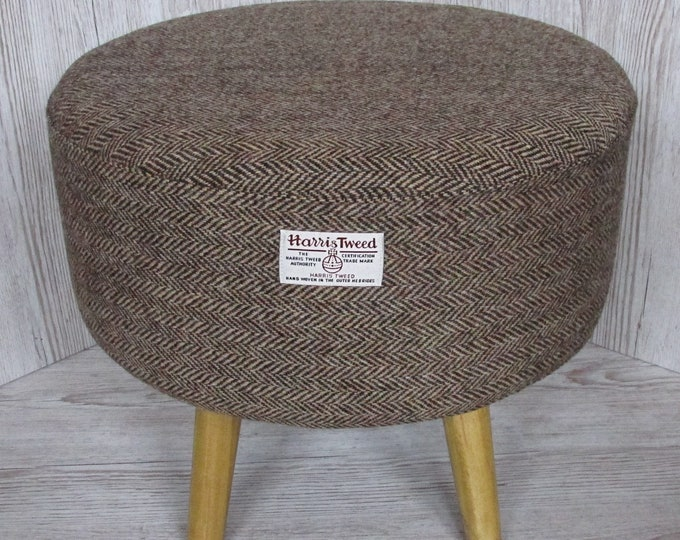 Harris Tweed Large Brown & Golden Beige Herringbone Hand Covered Footstool