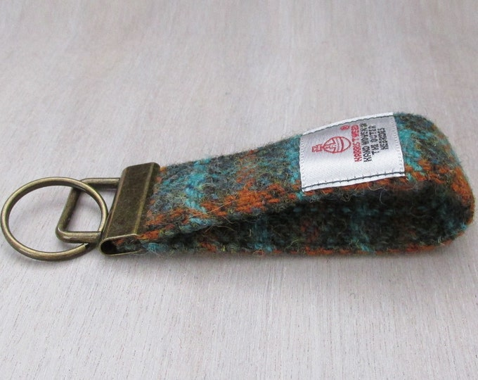Harris Tweed Pure Wool Green & Burnt Orange Check Looped Keyring On Chunky Metal Key Fob