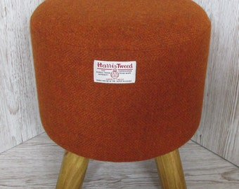 Harris Tweed Burnt Orange Hand Covered Footstool