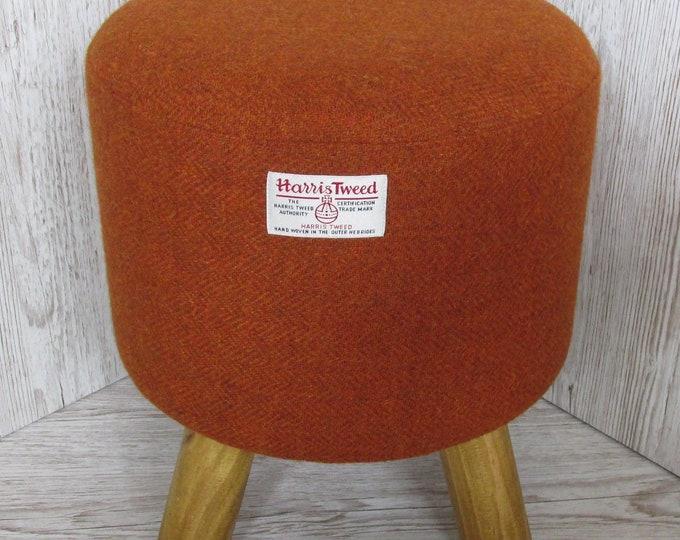 Harris Tweed Burnt Orange Hand Covered Footstool