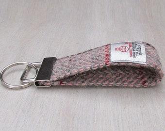 Harris Tweed Pure Wool Pink & Grey Herringbone Looped Keyring On Chunky Metal Key Fob
