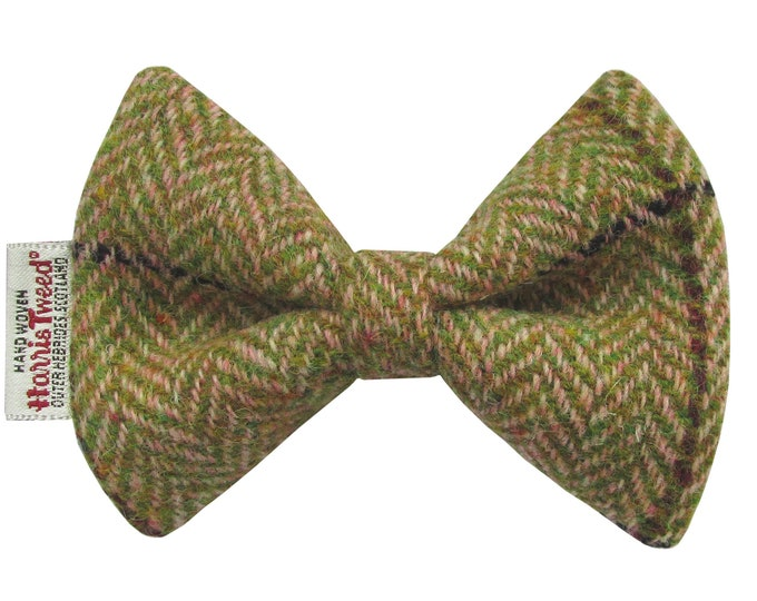 Harris Tweed Pink & Apple Herringbone Designer Dog Bow Tie