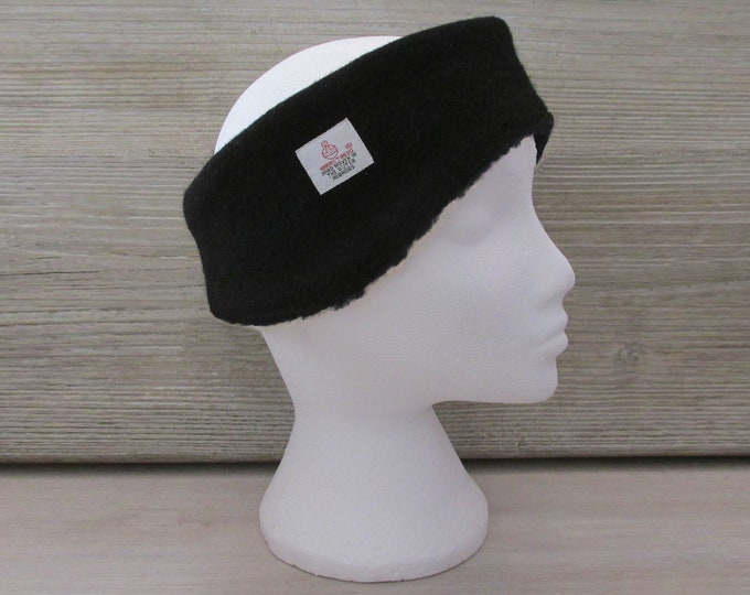 Harris Tweed Jet Black Luxury Ear Warmer Headband