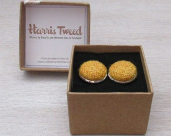 Harris Tweed Mustard Yellow Handmade Boxed Cufflinks