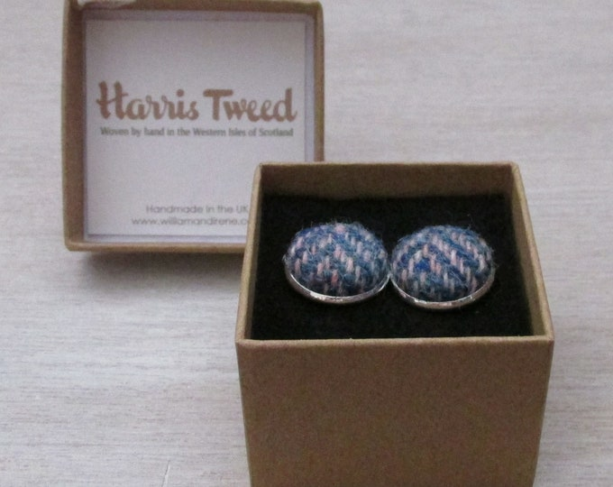 Harris Tweed Blue & Pink Herringbone Handmade Boxed Cufflinks