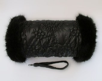 Black Quilted Hand Muff with Black Faux Fur Trim