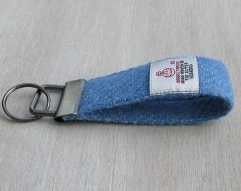 Harris Tweed Pure Wool Denim Blue Looped Keyring On Chunky Metal Key Fob