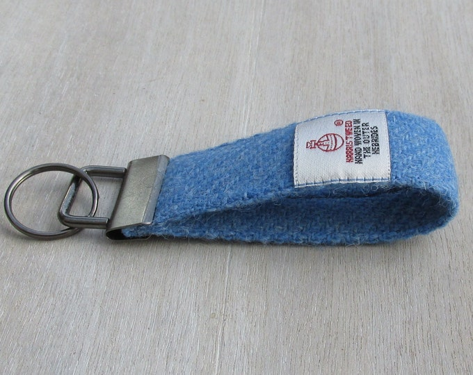 Harris Tweed Pure Wool Denim Blue Looped Keyring On Chunky Metal Key Fob