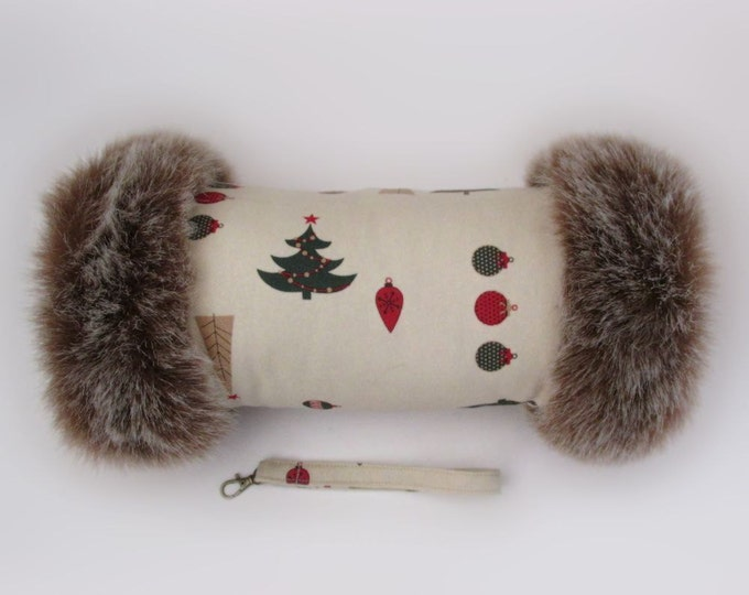 Festive Christmas Luxury Faux Fur Trimmed Hand Muff