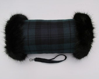 Black Watch 100% Wool Tartan Hand Muff with Black Faux Fur Trim