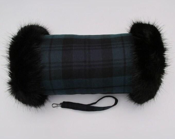 Black Watch 100% Wool Tartan Hand Muff with Black Faux Fur Trim
