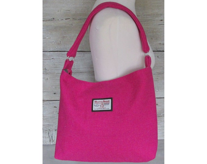 Harris Tweed Large Fuchsia Pink Slouchy Shoulder Bag