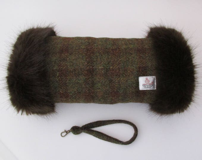 Harris Tweed 100% Wool Crofters Check Hand Muff with Chocolate Brown Faux Fur Trim