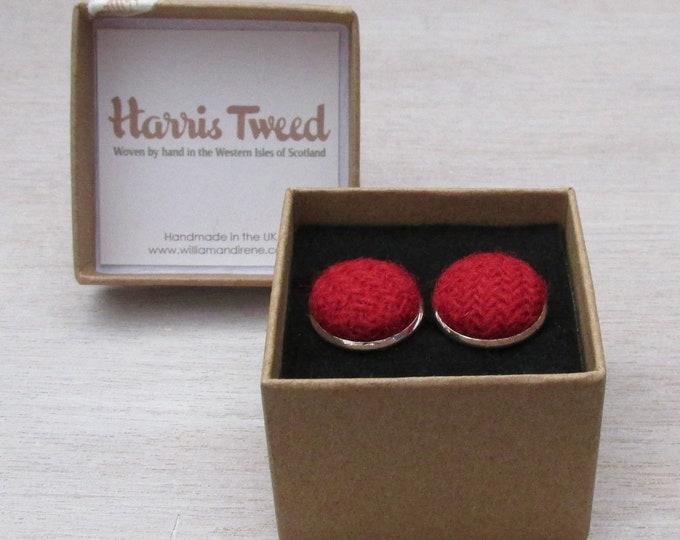 Harris Tweed Pillar Box Red Handmade Boxed Cufflinks