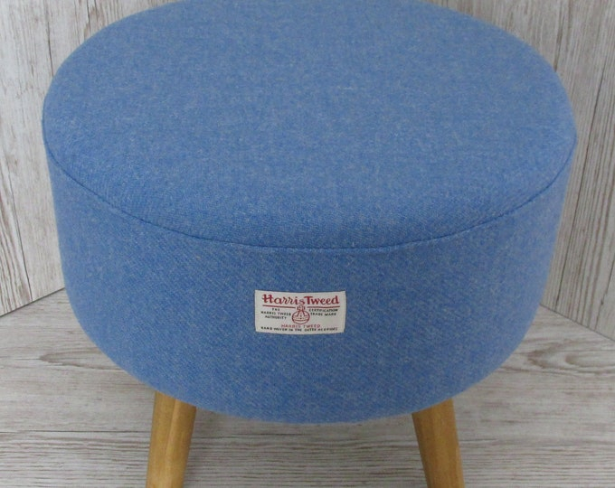 Harris Tweed Denim Blue Hand Covered Footstool