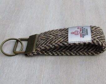 Harris Tweed Pure Wool Brown & Golden Beige Herringbone Looped Keyring On Chunky Metal Key Fob