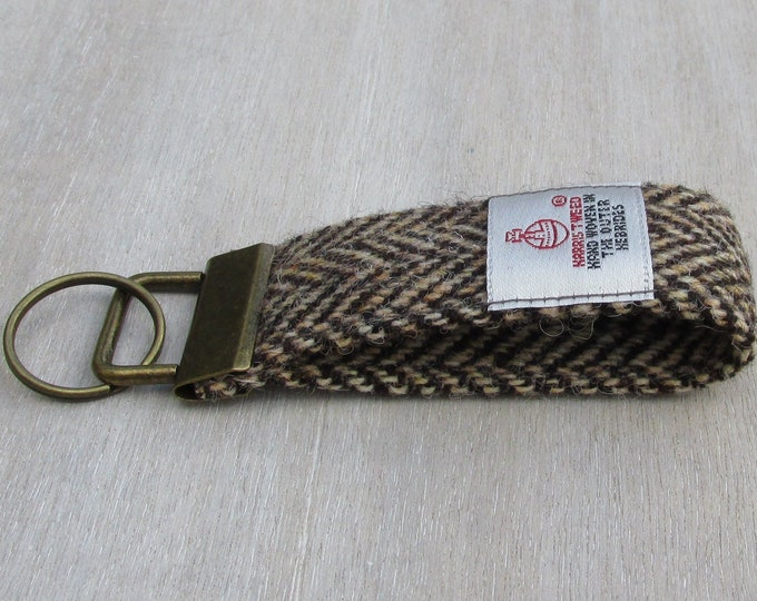 Harris Tweed Pure Wool Brown & Golden Beige Herringbone Looped Keyring On Chunky Metal Key Fob