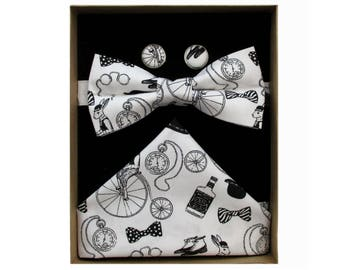 Gentlemens Club Black & White Bow Tie Boxed Gift Set