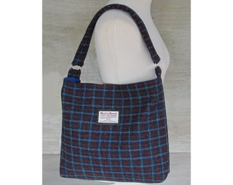 Harris Tweed Large Blue & Red Check Slouchy Shoulder Bag