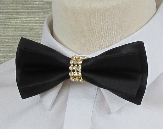 Black Satin Luxury Bow Tie with Diamante & Gold Band