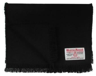 Harris Tweed Jet Black Luxury Pure Wool Neck Scarf