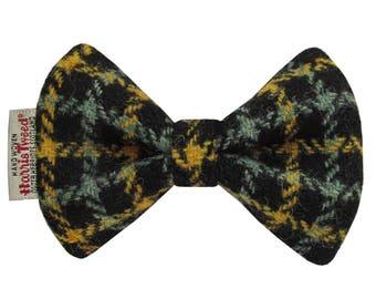 Harris Tweed Mustard & Sage Check Designer Dog Bow Tie