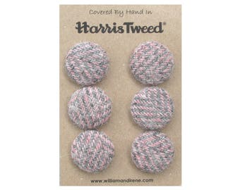 Harris Tweed Pure Wool Pink & Grey Herringbone Handmade Covered Set of 6 Buttons 24mm Diameter