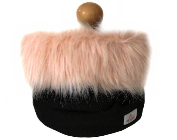 Harris Tweed Jet Black Pure Wool Cowl Neck Scarf with Pink Faux Fur Trim