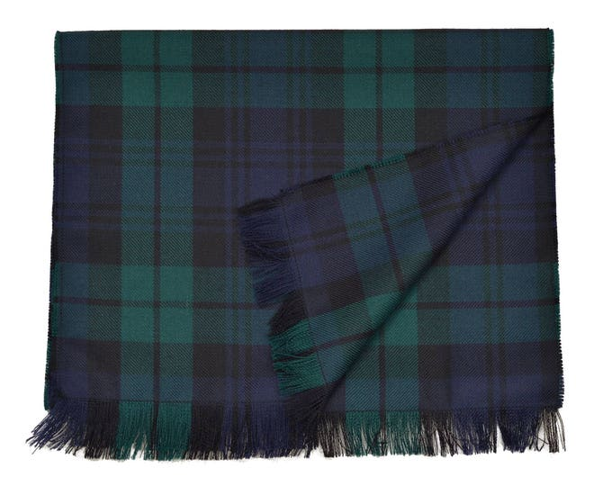 Black Watch Tartan 100% Wool Fringed Scarf