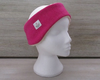 Harris Tweed Fuchsia Pink Luxury Ear Warmer Headband